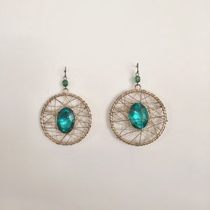 Bebe Emerald and Gold Statement Earrings